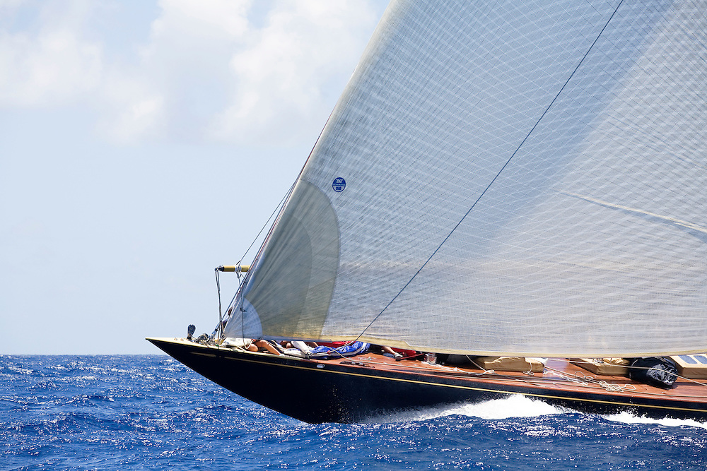 The bow of the J Class yacht Valsheda at Antigua Classic Yacht Regatta. This race  is one of the worlds most prestigious traditional yacht races. It is held annually