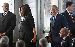 Governor of U.S. California Jerry Brown (2nd L), U.S. First Lady Michelle Obama (3rd L), and fomer U.S. President George W. Bush (2nd R) attend the funeral of former U.S. First Lady Nancy Reagan in Simi Valley, California, March 11, 2016. Nancy Reagan died of heart failure last Sunday at the age of 94. EXPA Pictures © 2016, PhotoCredit: EXPA/ Photoshot/ Yang Lei<br /> <br /> *****ATTENTION - for AUT, SLO, CRO, SRB, BIH, MAZ, SUI only*****