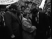 "Irish Theatre Industry Protest at Leinster House.1983.07.12.1983.12.07.1983.7th December 1983...With the imposition of a 23% V.A.T.rate on theatre tickets, the theatre industry was feeling the strain. Maureen potter and Brendan Grace aka ""Bottler"" led the protest to the gates of Leinster House Dublin...Photo of ""Bottler"" backing up Maureen potter as she Confronts Fianna Fail T.D. Ray Burke."