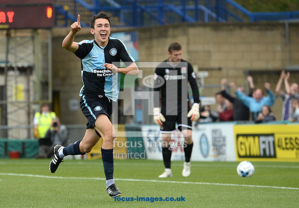 Luke O'Nien of Wycombe Wanderers celebrates scoring their first goal during the Sky Bet League 2 match against Northampton Town at Adams Park, High Wycombe<br /> Picture by Andrew Timms/Focus Images Ltd +44 7917 236526<br /> 03/10/2015
