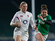 Lydia Thompson makes a break, England Women v Ireland Women in a 6 Nations match at Twickenham Stadium, Whitton Road, Twickenham, England, on 27th February 2016