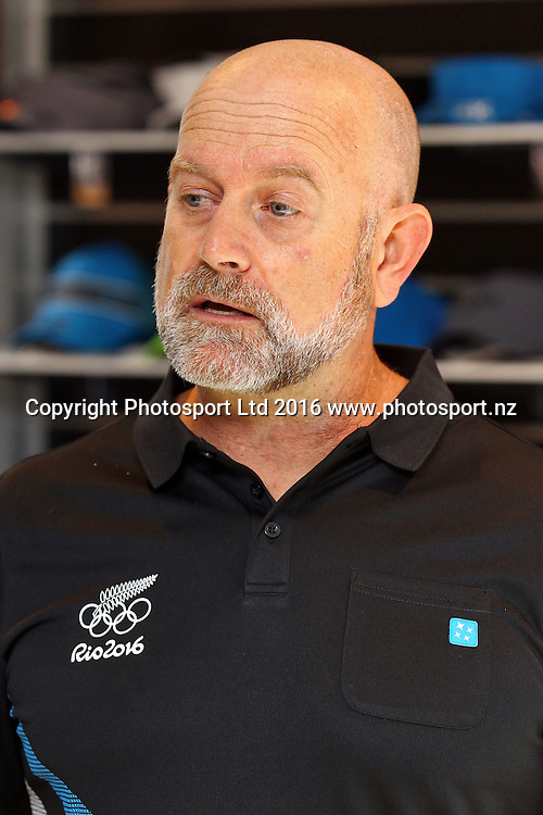 High Performance director Jez Fanstone, New Zealand Yachting team pre-departure media session ahead of the Rio 2016 Olympic Games. Zhik shop, Victoria Park Markets, Auckland, 26 July 2016. Copyright Image: William Booth / www.photosport.nz