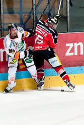 15.09.2013, Zimni Stadion, Zneim, CZE, EBEL, HC Orli Znojmo vs Moser Medical Graz 99ers, 6. Runde, im Bild Antonin Boruta (Znojmo #15) Greg Day (Graz #49) // during the Erste Bank Icehockey League 6th round match betweeen HC Orli Znojmo and Moser Medical Graz 99ers at the Zimni Stadium, Znojmo, Czech Republic on 2013/09/15. EXPA Pictures © 2013, PhotoCredit: EXPA/ Rostislav Pfeffer