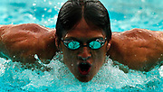 Olympic swimmer Ryan Lochte swims laps for the media at the Port Orange YMCA pool on Friday, July16, 2004.(Craig LItten)