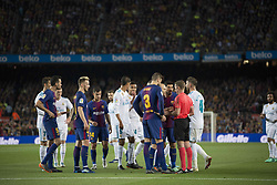 May 6, 2018 - Barcelona, Barcelona, Spain - FC Barcelona players argue with the referee about SERGI ROBERTO's red card during La Liga soccer match between FC Barcelona and Real Madrid CF. (Credit Image: © Patricia Rodrigues/via ZUMA Wire via ZUMA Wire)