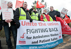 © Licensed to London News Pictures. 02/04/2013, Wakefield. 2 April 2013. Ambulance workers and organisers from Unite protest outside Yorkshire Ambulance Headquarters, Yorkshire. About 450 ambulance workers in Yorkshire are holding a 24-hour strike in a row over staffing changes. The dispute centres on plans to introduce emergency care assistants to work with Yorkshire Ambulance Service's more highly trained paramedics .Photo credit : David Mirzoeff/LNP