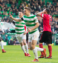 CelticÕs James Forrest celebrates scoring his side's first goal of the game during the William Hill Scottish Cup, Fourth Round match at Celtic Park, Glasgow.