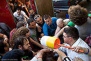 June 29, 2012 -- Wrestlers of Northeast Championship Wrestling huddle before taking to the ring during PAYBACK at the Jacob Jones VFW Post in  Dedham, on Friday, June 29, 2012.