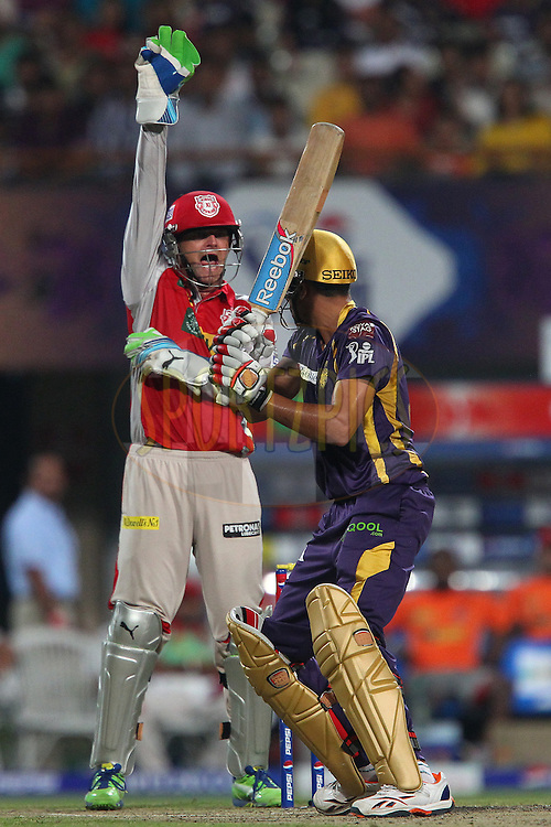 Adam Gilchrist appeals for the wicket of Manvinder Bisla during match 35 of the Pepsi Indian Premier League between The Kolkata Knight Riders and the Kings XI Punjab held at the Eden Gardens Stadium in Kolkata on the 26th April 2013..Photo by Ron Gaunt-IPL-SPORTZPICS  ..Use of this image is subject to the terms and conditions as outlined by the BCCI. These terms can be found by following this link:..http://www.sportzpics.co.za/image/I0000SoRagM2cIEc