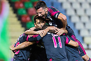 Portugal, FUNCHAL : Benfica's Argentine midfielder Salvio  celebrates with his teammates after scoring against Maritimo during Portuguese League football match Maritimo vs S.L. Benfica at Barreiros Stadium in Funchal on January  18, 2015.  PHOTO/ GREGORIO CUNHA