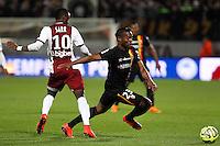 Bouna SARR / Wylan CYPRIEN - 18.04.2015 - Metz / Lens - 33eme journee de Ligue 1<br />Photo : Fred Marvaux / Icon Sport