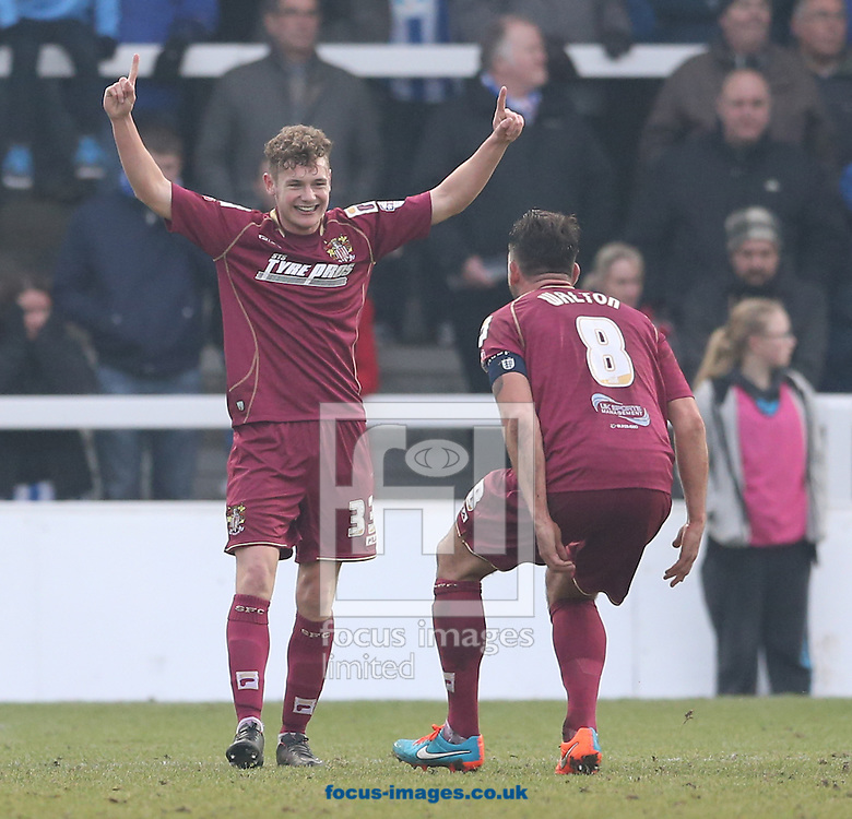 Ben Kennedy (l) of Stevenage celebrates his second to make it 1-3 during the Sky Bet League 2 match at Victoria Park, Hartlepool<br /> Picture by Simon Moore/Focus Images Ltd 07807 671782<br /> 14/02/2015
