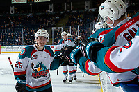KELOWNA, CANADA - JANUARY 30: Kyle Crosbie #25 of the Kelowna Rockets celebrates a second period goal against the Seattle Thunderbirds on January 30, 2019 at Prospera Place in Kelowna, British Columbia, Canada.  (Photo by Marissa Baecker/Shoot the Breeze)