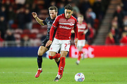 Middlesbrough midfielder Marcus Tavernier (7) and Charlton Athletic defender Adam Matthews (2) during the EFL Sky Bet Championship match between Middlesbrough and Charlton Athletic at the Riverside Stadium, Middlesbrough, England on 7 December 2019.