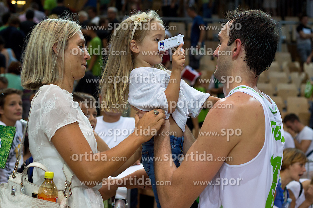 Mirza Begic of Slovenia with family after friendly match between National teams of Slovenia and Montenegro for Eurobasket 2013 on August 23, 2013 in Arena Bonifika, Koper, Slovenia. (Photo by Matic Klansek Velej / Sportida.com)