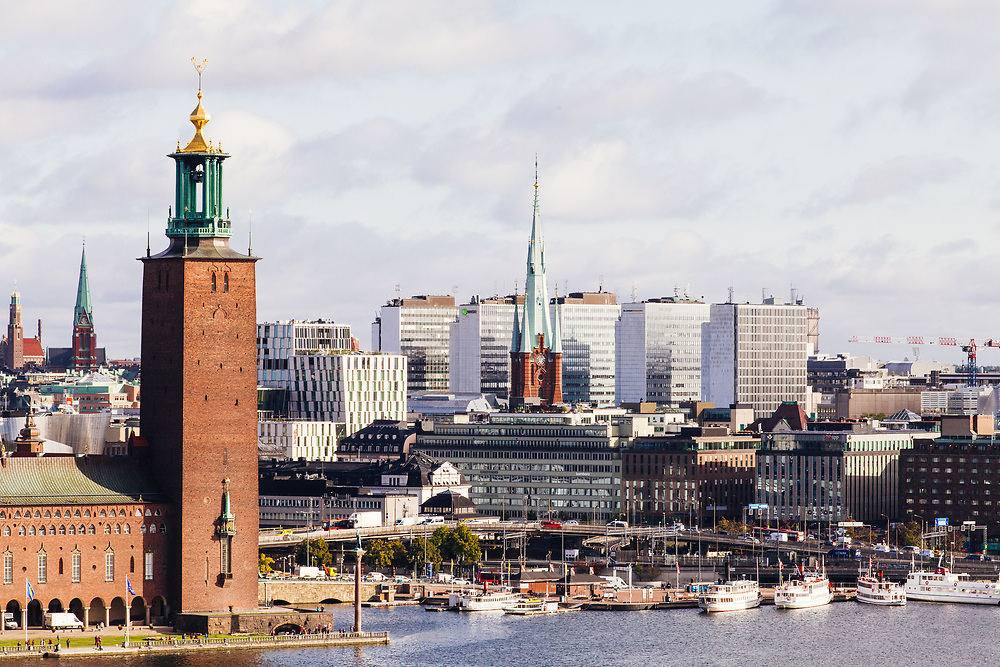 Stadhuset on the left with the famous skyscrapers, in Hötorget, as the background
