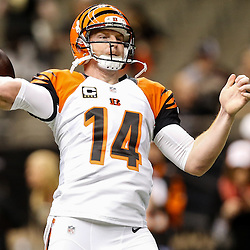Nov 16, 2014; New Orleans, LA, USA; Cincinnati Bengals quarterback Andy Dalton (14) prior to kickoff of a game against the New Orleans Saints at the Mercedes-Benz Superdome. Mandatory Credit: Derick E. Hingle-USA TODAY Sports