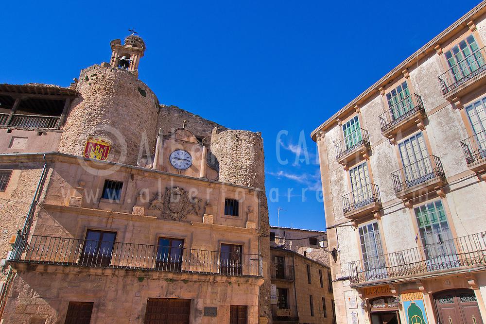 Alberto Carrera, Fernán González Casttle, City Hall, Plaza de España, Main Square, Sepúlveda, Mediaeval Village, Segovia, Castilla y León, Spain, Europe.