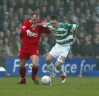 Photo. Andrew Unwin<br /> Yeovil v Liverpool, FA Cup Third Round, Huish Park, Yeovil 04/01/2004.<br /> Yeovils Gavin Williams (r) tussles with Liverpool's Danny Murphy (r).