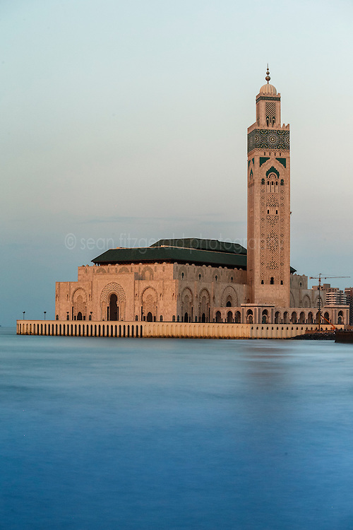 Hassan II Mosque at dusk, with Atlantic Ocean, Casablanca, Morocco