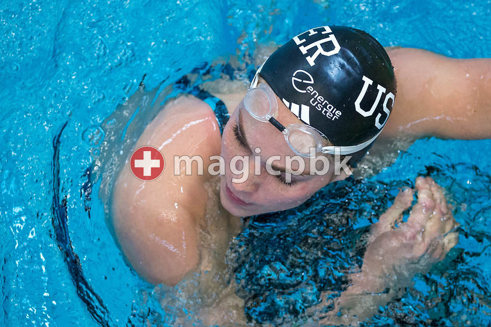 SCUW's Sasha TOURETSKI of Switzerland reacts after competing in the women's 100m Freestyle Heats during the Swiss Swimming Championships at the Piscine des Vernets in Geneva, Switzerland, Saturday, March 25, 2017. (Photo by Patrick B. Kraemer / MAGICPBK)