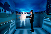 Next generation of internet communication with 3 Dimensional Internet Avatar, and projected in a cube 3D projection room, in research and development phase at Tokyo University, Tokyo, Japan.<br /> © Copyright Tom Wagner 2005phone UK+44.20-8463-9211 All moral rights asserted.<br /> ©Copyright 2005 Tom Wagner phone US+1.773.274.3217<br /> www.tomwagnerphoto.com<br /> USAGE RIGHTS: Images may not be archived or used in ANY way, electronic or in publication without written permission from photographer, Tom Wagner.