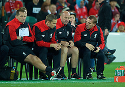 ADELAIDE, AUSTRALIA - Monday, July 20, 2015: Liverpool's manager Brendan Rodgers with his staff goalkeeping coach John Achterberg, first-team development coach Pepijn Lijnders and first team coach Gary McAllister during a preseason friendly match against Adelaide United at the Adelaide Oval on day eight of the club's preseason tour. (Pic by David Rawcliffe/Propaganda)