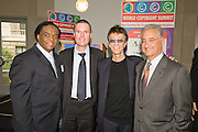 Lamont Dozier, song writer and producer at Motown Records, Eric Baptiste, Director General of CISAC, Robin Gibb singer/songwriter of the Bee Gees and President of CISAC and Del Bryant, President and CEO of BMI kickoff the Second World Copyright Summit at the Ronald Reagan Center, Washington, DC, Monday, June 8, 2009.