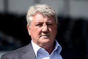 Hull City manager Steve Bruce during the Sky Bet Championship play-off first leg match between Derby County and Hull City at the iPro Stadium, Derby, England on 14 May 2016. Photo by Alan Franklin.