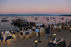 """Concours d'Elegance Dinner Sunset 1"" - Photograph from the 2011 Tahoe Concours d'Elegance dinner party.  Photographed at sunset, a full moon can be seen in the distance."