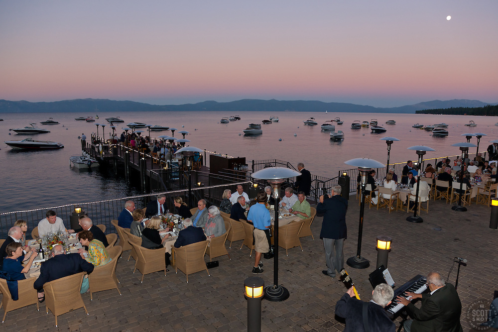 """""""Concours d'Elegance Dinner Sunset 1"""" - Photograph from the 2011 Tahoe Concours d'Elegance dinner party.  Photographed at sunset, a full moon can be seen in the distance."""