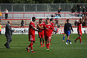 Accrington players celebrate after the final whistle during the EFL Sky Bet League 2 match between Accrington Stanley and Mansfield Town at the Fraser Eagle Stadium, Accrington, England on 19 August 2017. Photo by John Potts.