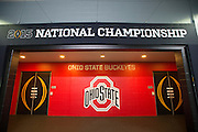 The Ohio State Buckeyes dressing room before kickoff against the Oregon Ducks during the College Football Playoff National Championship Game at AT&T Stadium on January 12, 2015 in Arlington, Texas.  (Cooper Neill for The New York Times)
