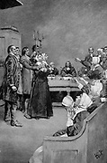 The Trial of a Witch, 17th century Puritan America. Illustration for the play 'Giles Corey, Yeoman' by Mary E Wilkins (Mary Eleanor Wilkins Freeman), American novelist and playwright. Wood engraving 1892.