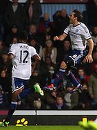 Picture by David Horn/Focus Images Ltd +44 7545 970036<br /> 23/11/2013<br /> Frank Lampard of Chelsea (right) celebrates scoring his first goal of the game during the Barclays Premier League match at the Boleyn Ground, London.