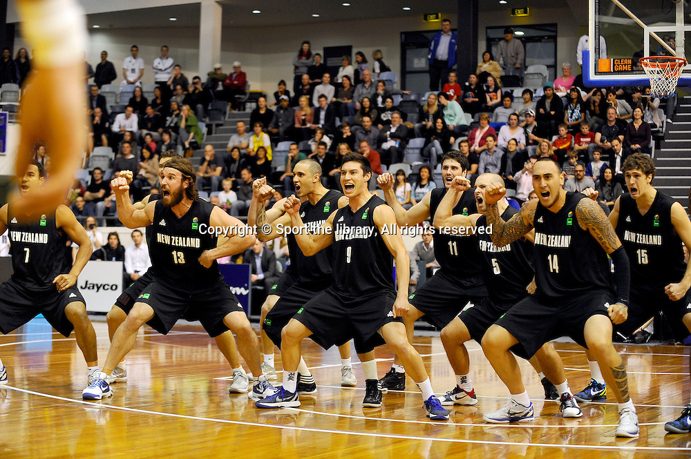 The Tall Blacks perform the HAKA before the game<br /> Basketball - Australia  v New Zealand (Men)<br /> 2011 FIBA Oceania Championship<br /> State Hockey/Netball Centre / Melbourne<br /> Wednesday 7th September 2011<br /> &copy; Sport the library / Jeff Crow