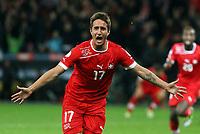Bern, 12.10.2012, Fussball WM 2014 Quali, Schweiz - Norwegen, Mario Gavranovic (SUI) jubelt nach dem Tor zum 1:0 (Pascal Muller/EQ Images)