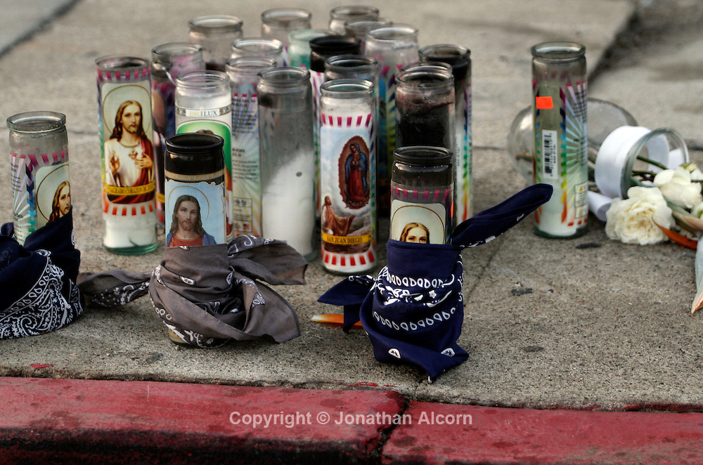 a makeshift memorial for a fallen E/S 83 Gangster Crips member in Los Angeles, California infamous intersection of Florence and Normandie in Los Angeles, California, April 5, 2012. This April 29 will be the 20 year anniversary of the flashpoint of the Los Angeles Riots in the area of Florence and Normandie in South Los Angeles. ©Jonathan Alcorn/JTA