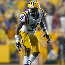Sep 21, 2013; Baton Rouge, LA, USA; LSU Tigers safety Micah Eugene (34) against the Auburn Tigers during the first half of a game at Tiger Stadium. Mandatory Credit: Derick E. Hingle-USA TODAY Sports