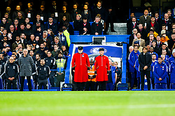 Manchester United manager Jose Mourinho and Chelsea manager Antonio Conte join Chelsea Pensioners as the stadium stands for a Minutes silence for Remembrance Day - Rogan/JMP - 05/11/2017 - FOOTBALL - Stamford Bridge - London, England - Chelsea v Manchester United - Premier League.
