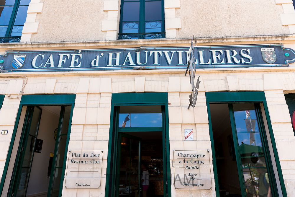 Traditional French cafe, Cafe d'Hautvillers on Champagne Tourist Route in Hautvillers near Epernay, Champagne-Ardenne, France