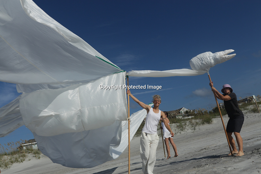 """Artists set up a """"Volo"""" during the SARUS Festival Sunday August 24, 2014 at Wrightsville Beach, N.C. (Jason A. Frizzelle)"""