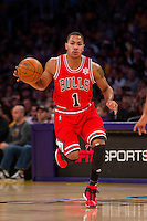 25 December 2011: Guard Derrick Rose of the Chicago Bulls dribbles the ball up the court against the Los Angeles Lakers during the first half of the Bulls 88-87 victory over the Lakers at the STAPLES Center in Los Angeles, CA.