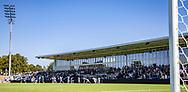 FC Helsingørs spillere løber på banen til kampen i 2. Division mellem FC Helsingør og Vanløse IF den 24. august 2019 på Helsingør Ny Stadion (Foto: Claus Birch).
