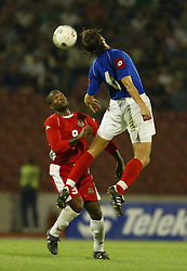 BELGRADE, SERBIA & MONTENEGRO - Wednesday, August 20, 2003: Wales' Nathan Blake and Serbia & Montenegro's Goran Gavrancic during the UEFA European Championship qualifying match at the Red Star Stadium. (Pic by David Rawcliffe/Propaganda)