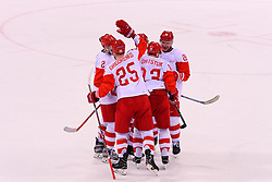23.02.2018, Gangneung Hockey Centre, Gangneung, KOR, PyeongChang 2018, Eishockey Semifinale, Tschechien vs OAR, im Bild grigorenko (mikhail), datsyuk (pavel), zubarev (andrei), AOR : Athletes olympiques de Russie // during the ice hockey semifinal match between Czech Republic vs OAR of the Pyeongchang 2018 Winter Olympic Games at the Gangneung Hockey Centre in Gangneung, South Korea on 2018/02/23. EXPA Pictures © 2018, PhotoCredit: EXPA/ Pressesports/ Jerome Prevost<br /> <br /> *****ATTENTION - for AUT, SLO, CRO, SRB, BIH, MAZ, POL only*****