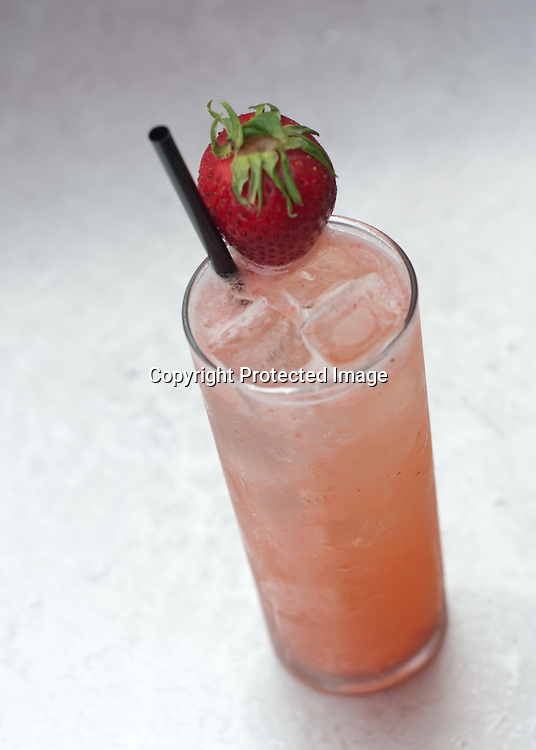 A Strawberry Rickey photographed on the patio at Bourbon at their Glover Park location in Washington DC.