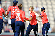 England women's Katherine Brunt celebrates what she thinks is the opening wicket but is denied as it was a no ball during the International T20 match between England Women Cricket and Pakistan Women Cricket at the Ageas Bowl, Southampton, United Kingdom on 5 July 2016. Photo by Graham Hunt.