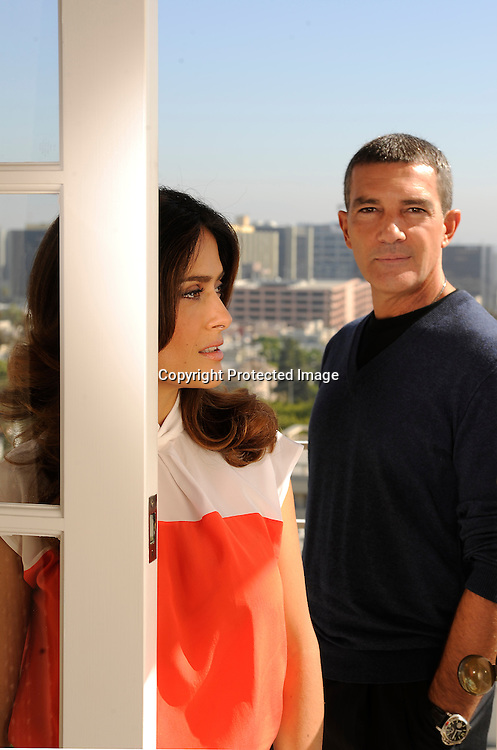 """Antonio Banderas and Salma Hayek will join each other again as they voice characters in the soon to be released animated film """"Boots."""" Photographed at the Four Seasons Hotel in Beverly Hills, CA. 10/21/2011(John McCoy/Staff Photographer)"""
