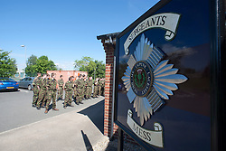 Outside the sergeants mess..Exercise Guards Warrior with the Scots Guards at their Catterick base..Pic ©2010 Michael Schofield. All Rights Reserved.
